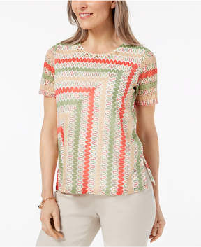 Alfred Dunner Parrot Cay Lace-Overlay Top