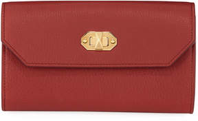 Alexander McQueen Leather Chain Turn-Lock Wallet, Red