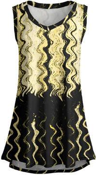 Lily Black & Yellow Abstract Line Sleeveless Tunic - Women & Plus
