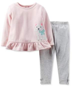 Carter's Infant Girl 2 Piece Set PInk Dog Sweatshirt Stripe Gray Leggings 6m