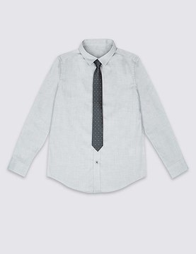 Marks and Spencer Textured Shirt with Tie (3-14 Years)