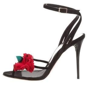 Oscar de la Renta Olive Floral-Embellished Sandals w/ Tags