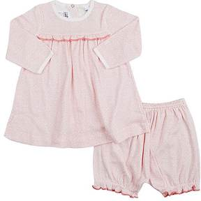Petit Bateau DOTTED COTTON JERSEY DRESS & BLOOMERS SET