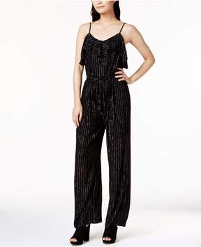 Bar III Metallic-Striped Ruffled Jumpsuit, Created for Macy's
