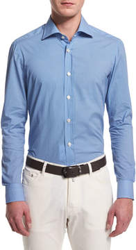 Kiton Mini Dot-Print Long-Sleeve Sport Shirt, Blue
