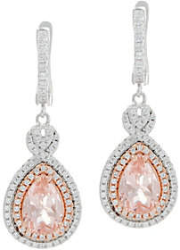 Diamonique and Simulated Morganite Earrings,Sterling