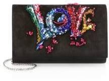 Christian Louboutin Paloma Suede Love Embroidery Clutch
