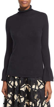 Co Cashmere Turtleneck Sweater with Bell Cuffs, Black