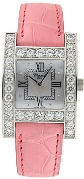 Chopard H Diamond 18kt White Gold Pink Ladies Watch 13/6621