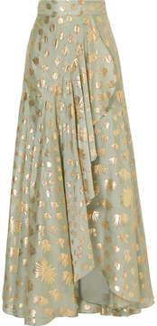 Temperley London Riviera Wrap-effect Fil Coupé Silk-blend Maxi Skirt - Green