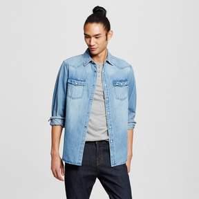 Mossimo Men's Long Sleeve Washed Denim Shirt Blue