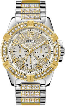 GUESS Men's Pave Crystal-Set Two-Tone Stainless Steel Bracelet Watch 50mm