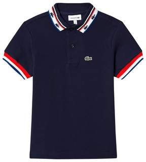 Lacoste Navy Retro Tipped Branded Polo