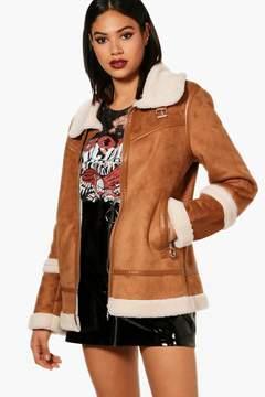 boohoo Molly Boutique Faux Sherpa Bonded Aviator Jacket