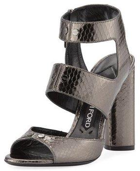 Tom Ford Rivet Snakeskin 105mm Sandal, Gray