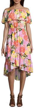 BELLE + SKY Off The Shoulder Ruffle Hem Maxi Dress