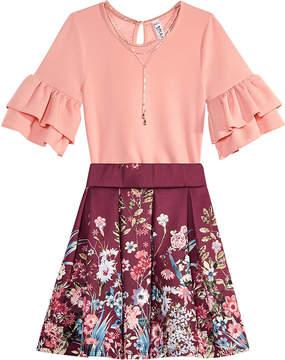 Beautees Big Girls 3-Pc. Bodysuit, Skirt & Necklace Set
