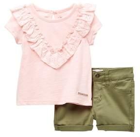 Hudson Lace Trim Top & Shorts Set (Baby Girls)