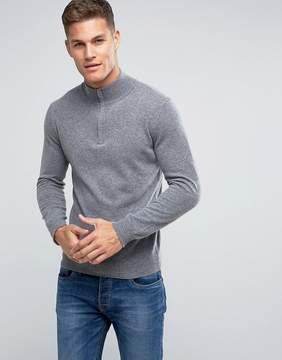 Benetton Half Zip 100% Merino Sweater In Gray
