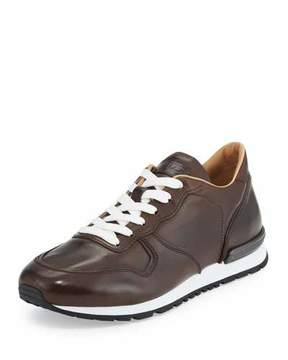 Tod's Men's Smooth Leather Trainer Sneakers, Dark Brown