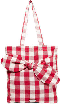 Loeffler Randall Bessie Bow-embellished Gingham Canvas Tote - Red