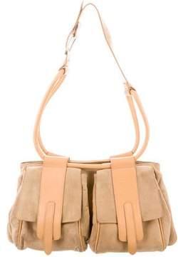 Hogan Leather-Trimmed Suede Bag