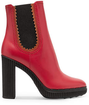 Tod's Leather Platform Ankle Boots - Red