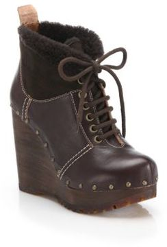 See by Chloe Clive Faux Leather & Shearling Clog Wedge Booties
