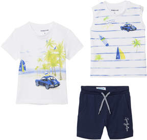 Mayoral White Tropical Print Tee, Vest and Shorts Set