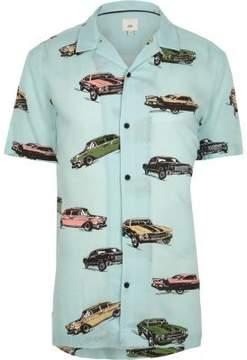 River Island Mens Big and Tall green car print revere shirt