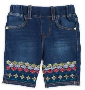 Flapdoodles Little Girl's Embroidered Denim Bermuda Shorts