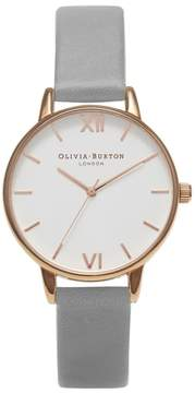 Olivia Burton Women's Midi Dial Leather Strap Watch, 30Mm