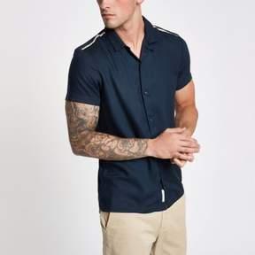 River Island Mens Navy revere short sleeve tape shirt