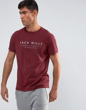 Jack Wills Westmore Front Graphic Text T-Shirt In Damson