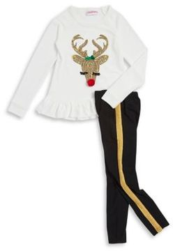 Flapdoodles Little Girl's Two-Piece Reindeer Sweater and Pants Set