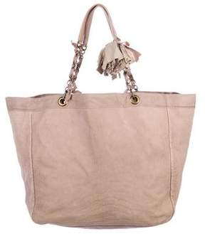 Lanvin Ribbon-Accented Suede Tote