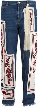 J.W.Anderson Printed-appliqué straight-leg jeans