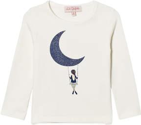 Lili Gaufrette Ivory Glitter Moon and Girl Print Long Sleeve T-Shirt