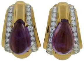 David Webb Amethyst Diamond Yellow Gold Earrings