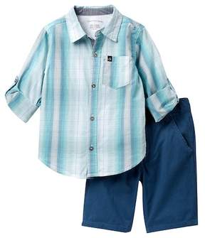 Calvin Klein Plaid Woven Shirt & Twill Shorts Set (Little Boys)