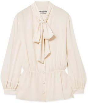 Balenciaga Pussy-bow Silk Crepe De Chine Blouse - White