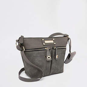 River Island Light grey zip pocket cross body bag