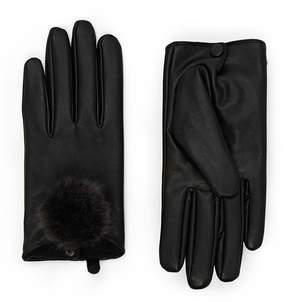 Forever 21 Pom-Pom Faux Leather Gloves