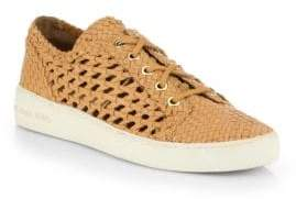 Michael Kors Violet Woven Leather Lace-Up Sneakers