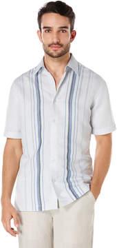 Cubavera Linen Short Sleeve Front Placket Engineered Stripe