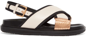 Marni Canvas And Snake-trimmed Leather Sandals - Off-white
