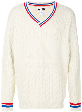 adidas NY cable v-neck jumper