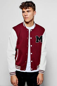 boohoo Wine Wool Look Varsity Bomber Jacket