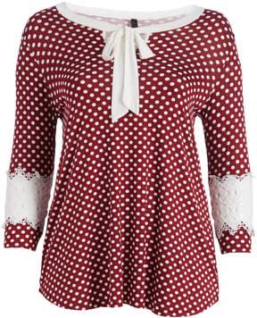 Celeste Burgundy Polka Dot Lace-Sleeve Tie-Neck Tunic - Plus