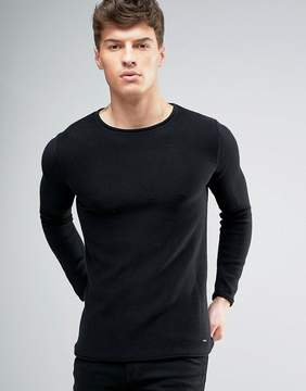 Solid Ribbed Sweater In Black With Raw Neck